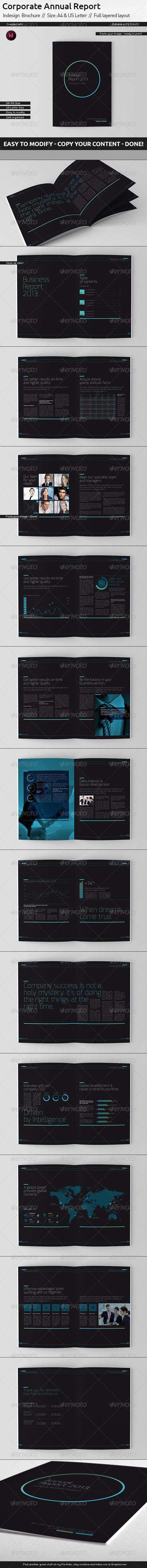 GraphicRiver Black Annual Report A4 and US Letter Size 5858700