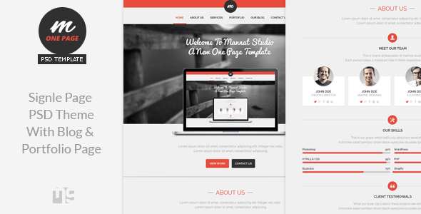 Mannat Studio Flat Clean One Page PSD Theme