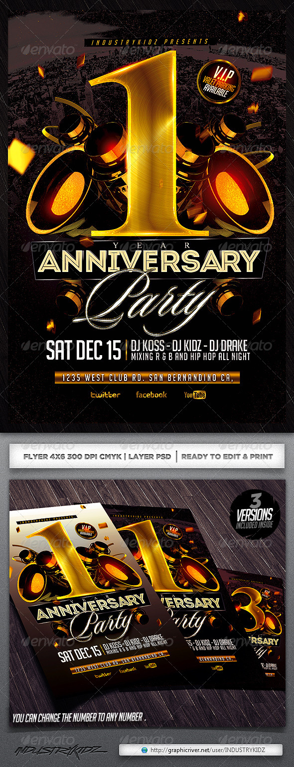 GraphicRiver Anniversary Party Flyer Template 5858784