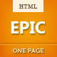 Epic One Page Parallax HTML Template - ThemeForest Item for Sale