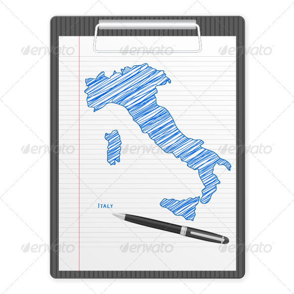 GraphicRiver Clipboard Italy Map 5859508