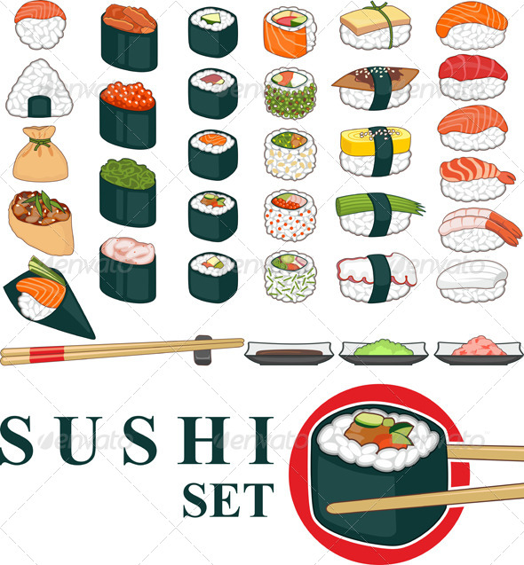 Big Sushi Set Various - Food Objects