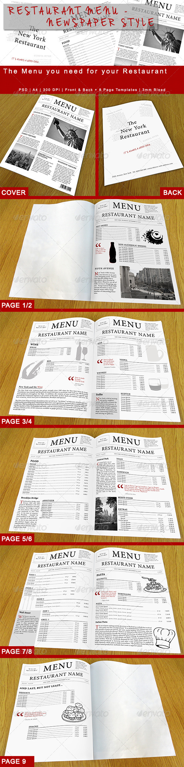 GraphicRiver Restaurant Menu Newspaper Style 5800575