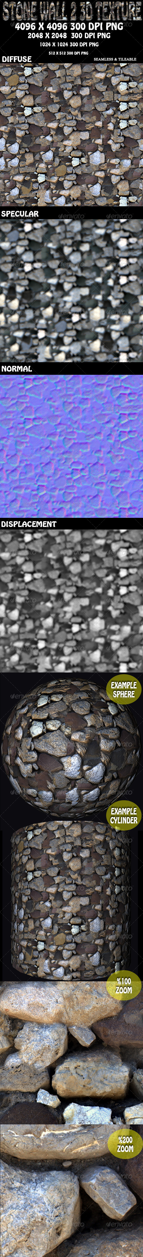 Stone Wall 2 3D Texture - 3DOcean Item for Sale