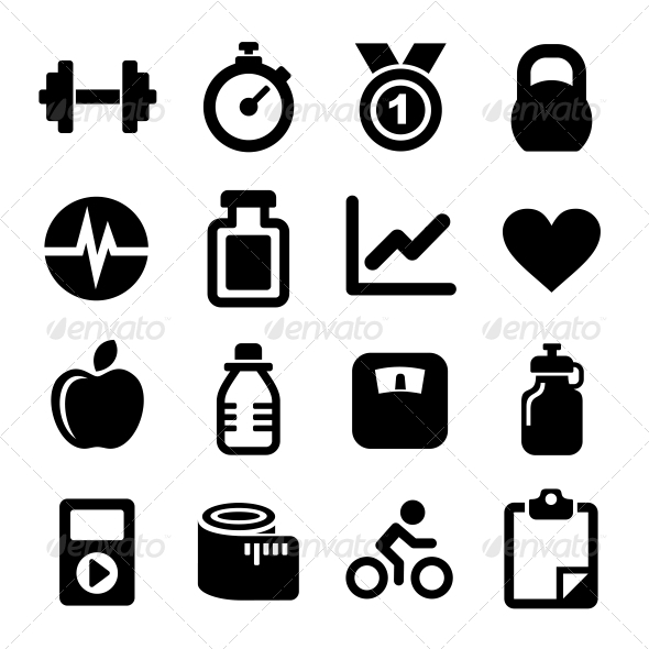 GraphicRiver Fitness icons set 5859986