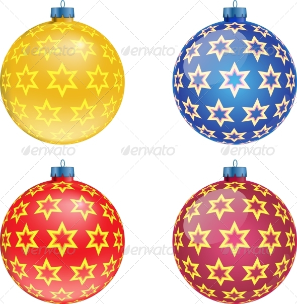 Set of Colorful Christmas Balls Illustration