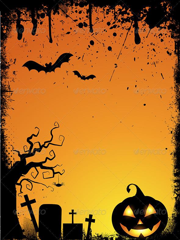 GraphicRiver Grunge Halloween Background 5860594