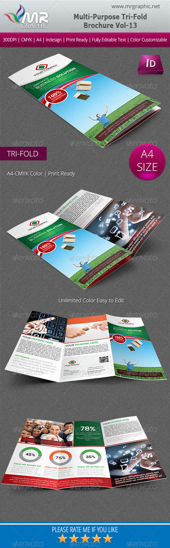 Multipurpose Business Tri-Fold Brochure Vol-13