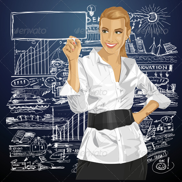 GraphicRiver Vector Business Woman Writing Something 5860657