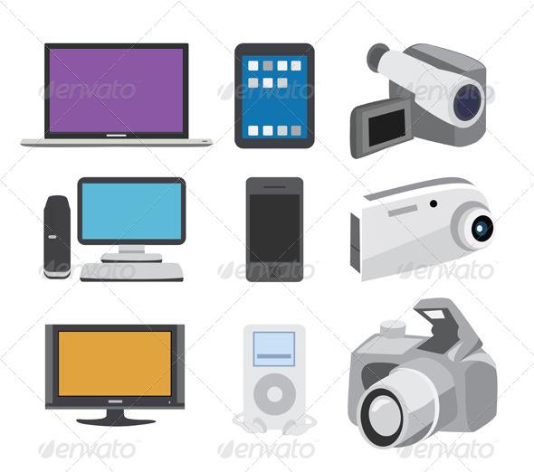 GraphicRiver Electronics Icon Set 5860759