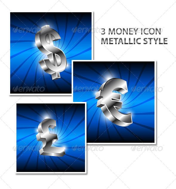 GraphicRiver Money Icon Metallic 5860768