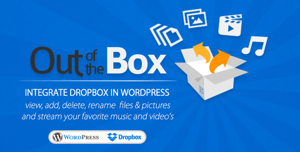 Out-of-the-Box WordPress Plugin This plugin will help you to easily integrate Dropbox into your WordPress website or blog. Out-of-the-Box allows you to view, do