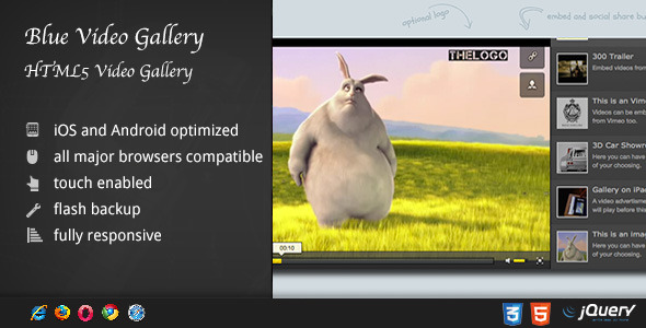 HTML5 Blue Video Gallery - CodeCanyon Item for Sale
