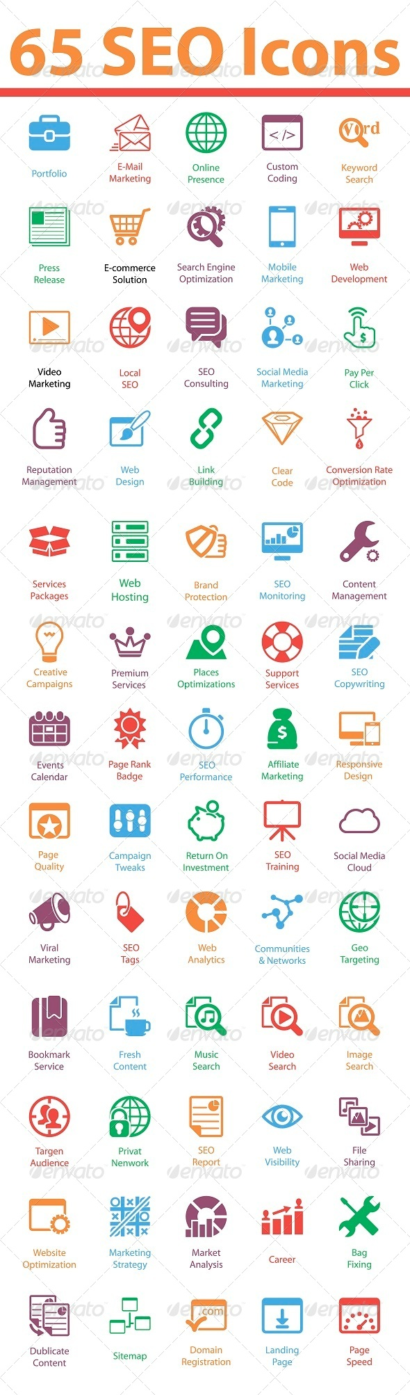 GraphicRiver 65 SEO Services Icons 5860976