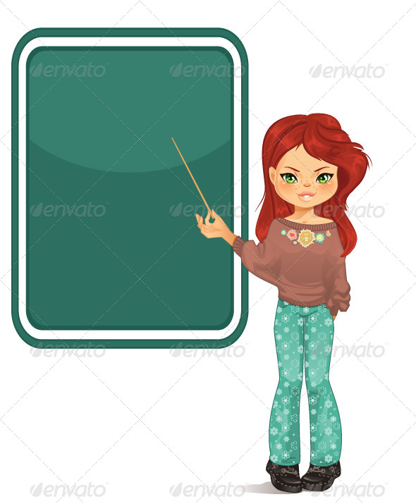 GraphicRiver Girl Pointing to Blackboard 5860987