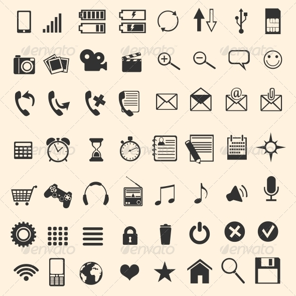 GraphicRiver Vector Set of 56 Mobile Icons 5861036
