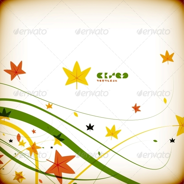 Autumn Flying Leaves Vintage Abstract Background