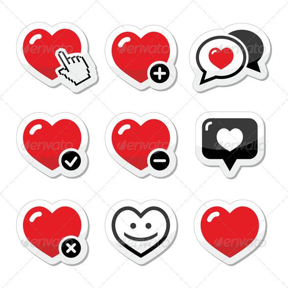 GraphicRiver Heart Vector Icon Set 5861418