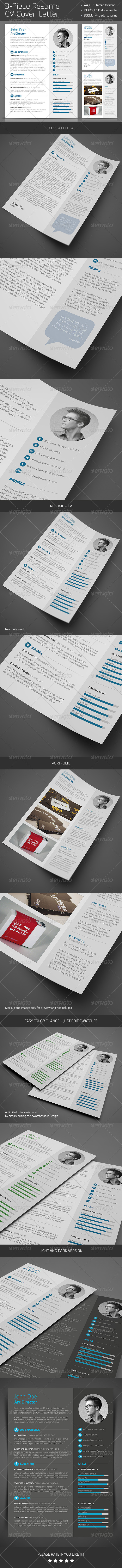 GraphicRiver 3-Piece Resume CV Cover Letter 5861666