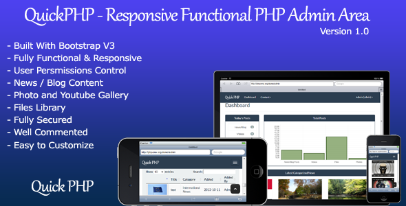 CodeCanyon QuickPHP Responsive Functional PHP Admin Area 5842392
