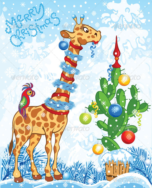 Christmas Card with Cartoon Giraffe and Cactus