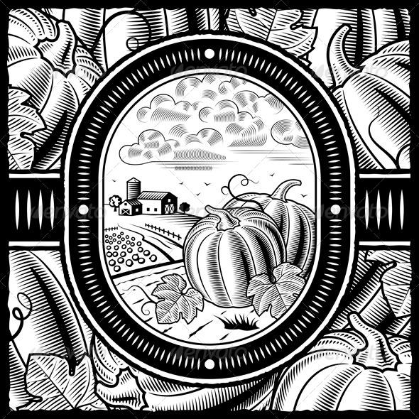 GraphicRiver Pumpkin Harvest Black and White 3303304