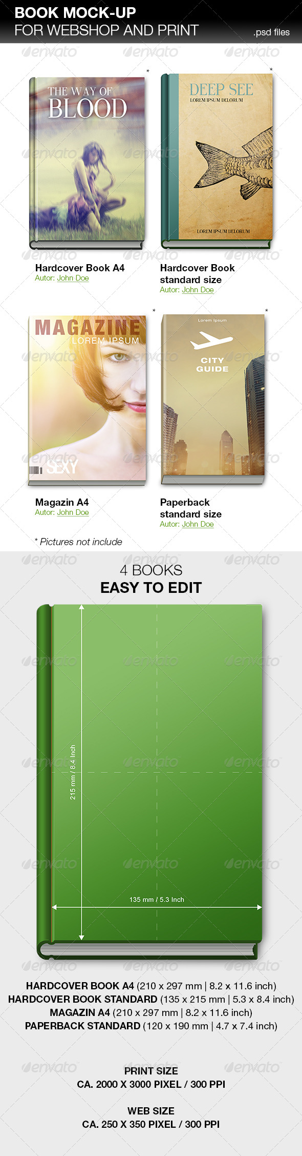 GraphicRiver Book Mockup for Webshop and Print 5814541