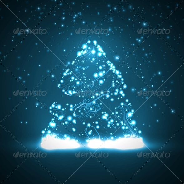 GraphicRiver Circuit Board Background with Christmas Tree 5862759