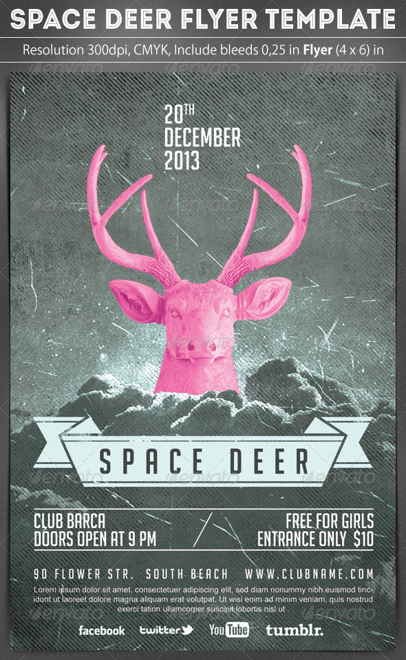 Space Deer Flyer Template