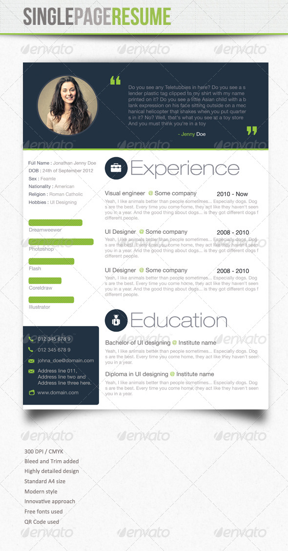 Simple Resume : 3 - Resumes Stationery
