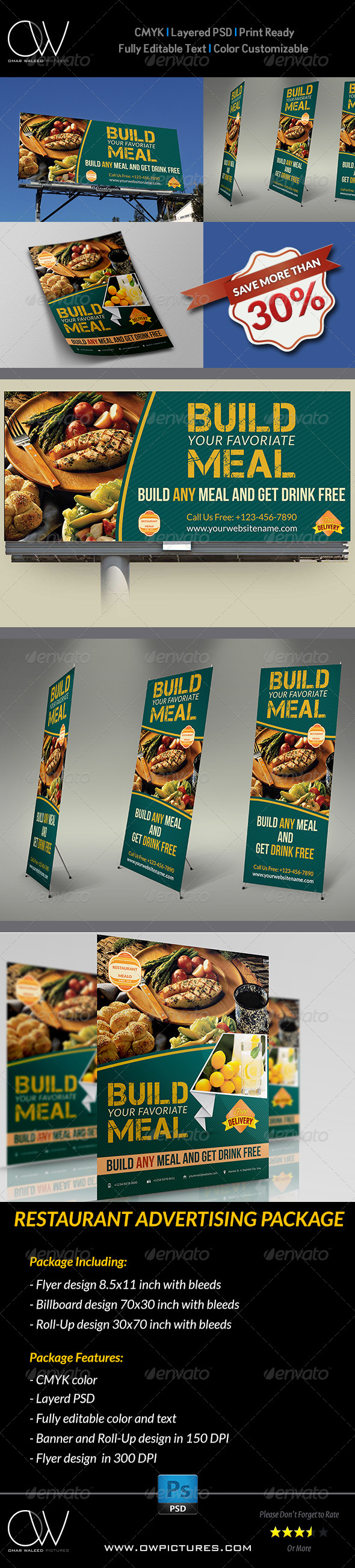 Restaurant Advertising Bundle - Signage Print Templates