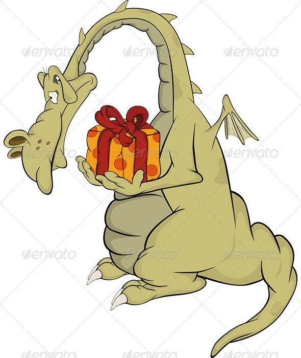 GraphicRiver Dragon with a Gift Cartoon 5863529