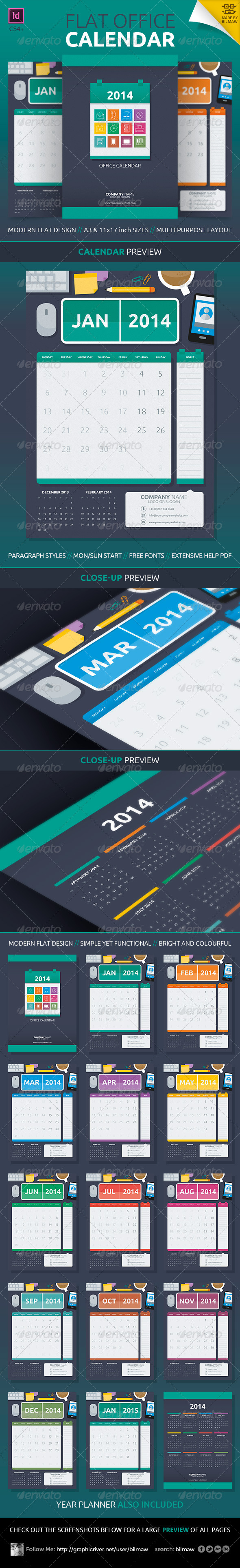 GraphicRiver Flat Office Calendar 5863786