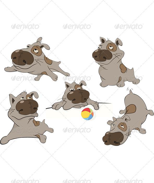 GraphicRiver Dogs Cartoon Clip Art 5863803