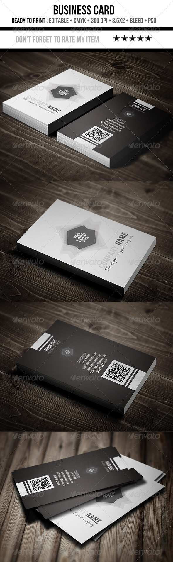 GraphicRiver Creative Black & White Business Cards 5864162