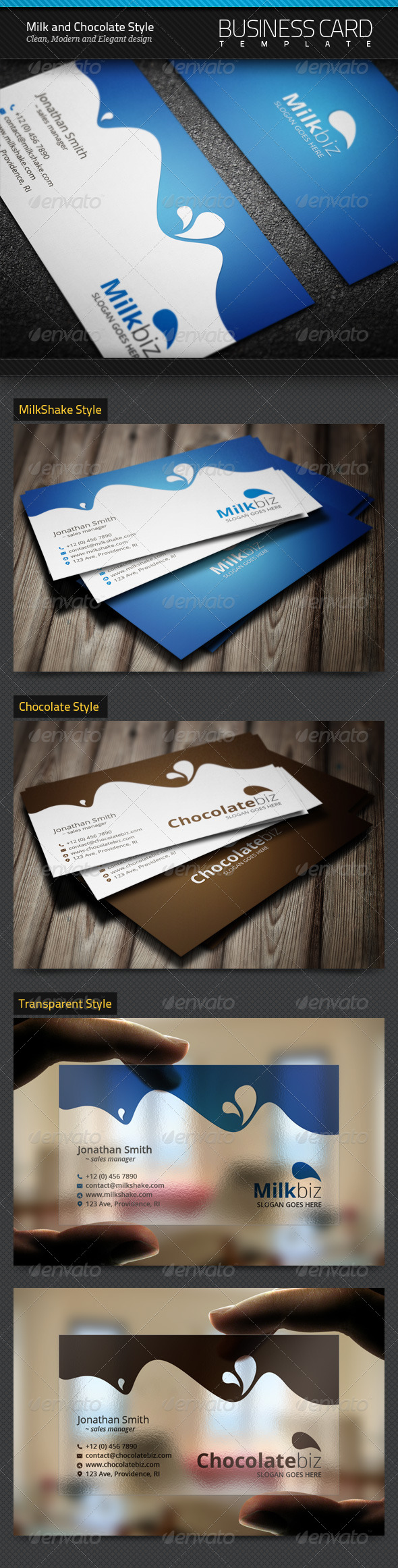 GraphicRiver Milk and Chocolate Business Cards 5864662