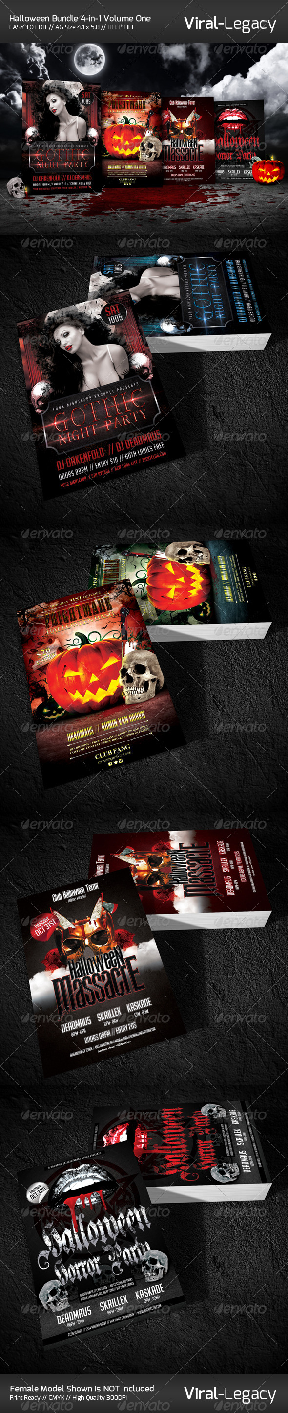 GraphicRiver Halloween Bundle 4-in-1 Volume One 5864921