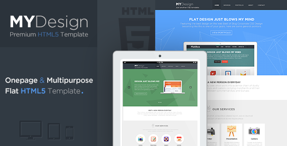 ThemeForest MYDesign Onepage Multipurpose Flat HTML Template 5842063