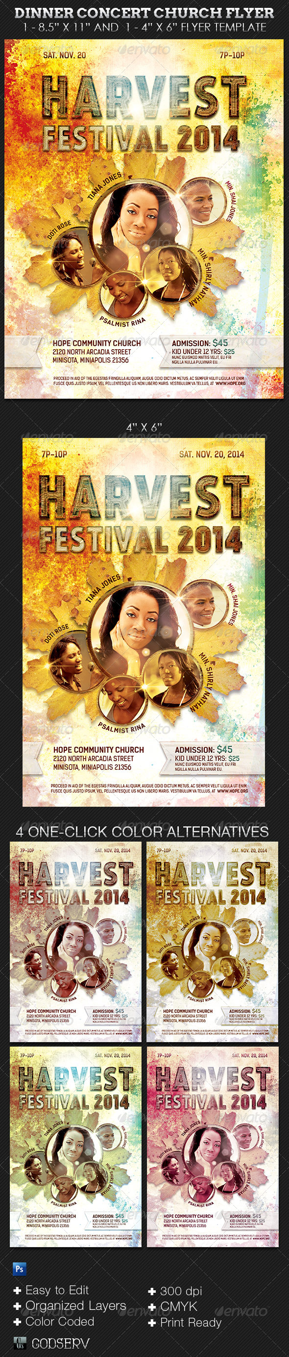 Harvest Festival Concert Flyer Template - Church Flyers