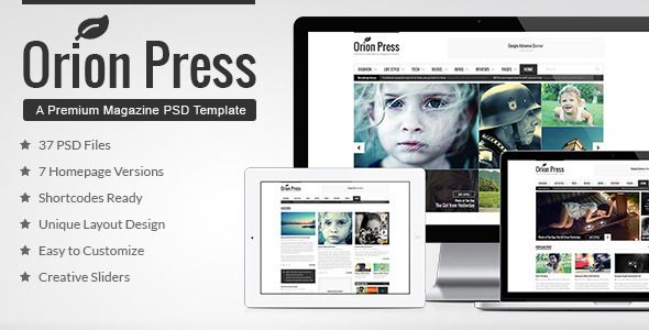 Orion Press – Blog & Magazine PSD Template - Miscellaneous PSD Templates