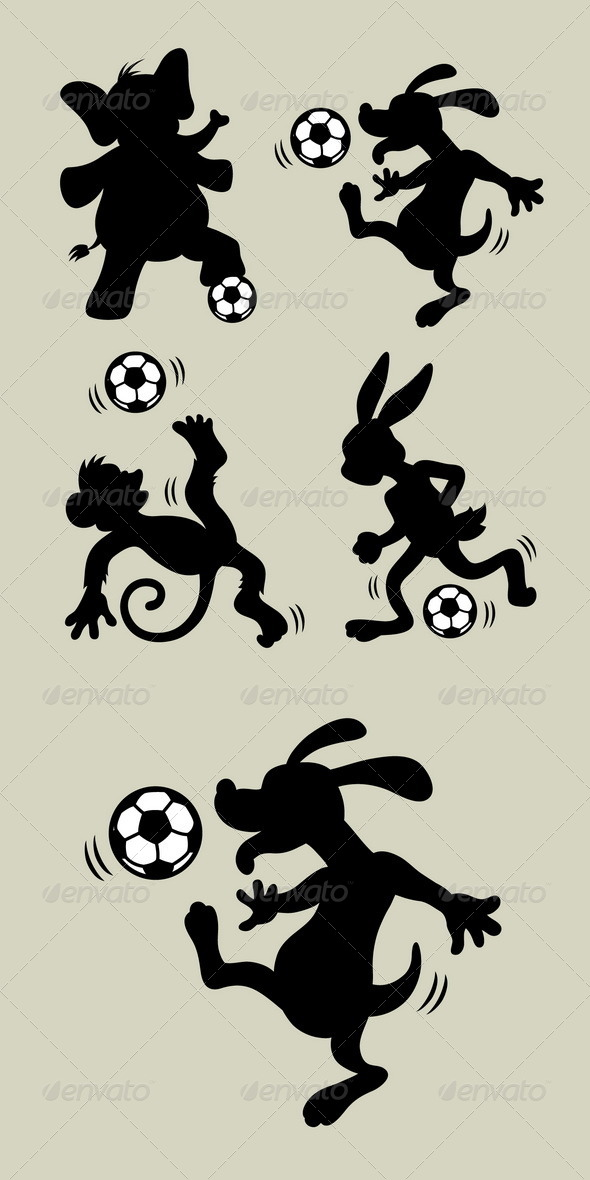 GraphicRiver Animal Playing Soccer Silhouettes 5866855