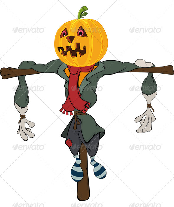 GraphicRiver Scarecrow Halloween Pumpkin Cartoon 5867593