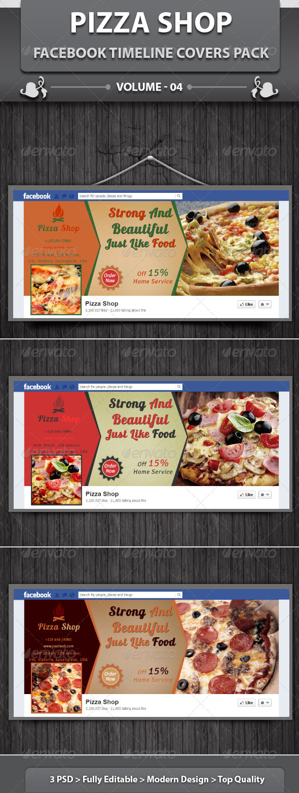 GraphicRiver Pizza Shop Facebook Timeline Covers Pack v4 5867900