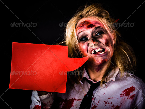 Halloween monster making spooky announcement - Stock Photo - Images
