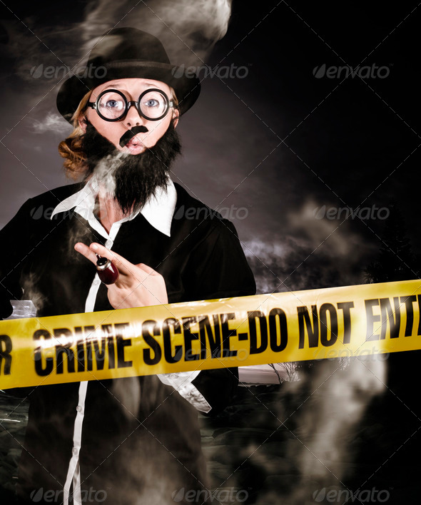 Sherlock Holmes detective at crime scene - Stock Photo - Images