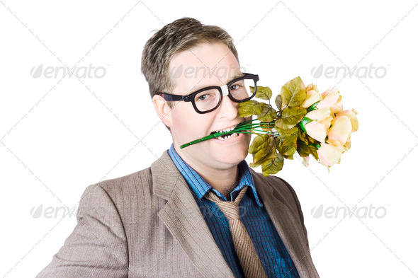 Geek in love - Stock Photo - Images