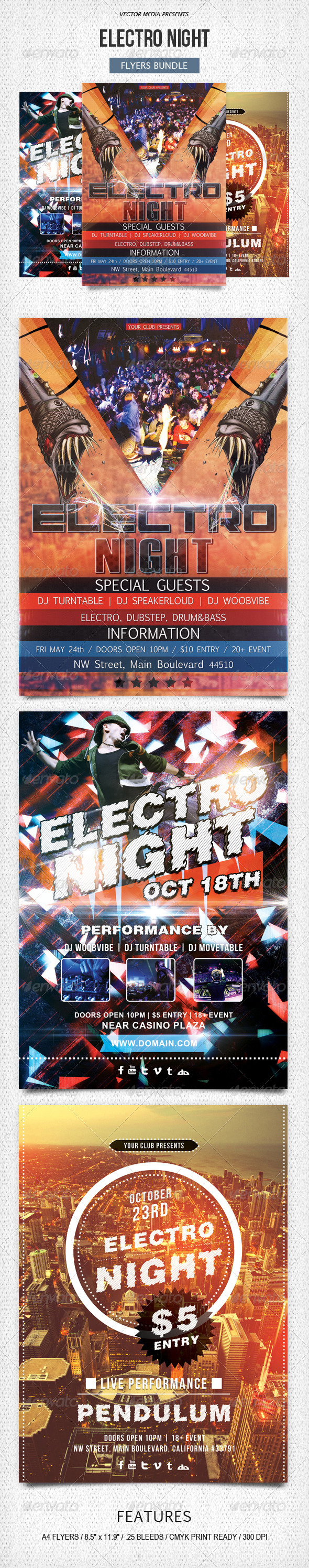 GraphicRiver Electro Night Flyers Bundle 5868831