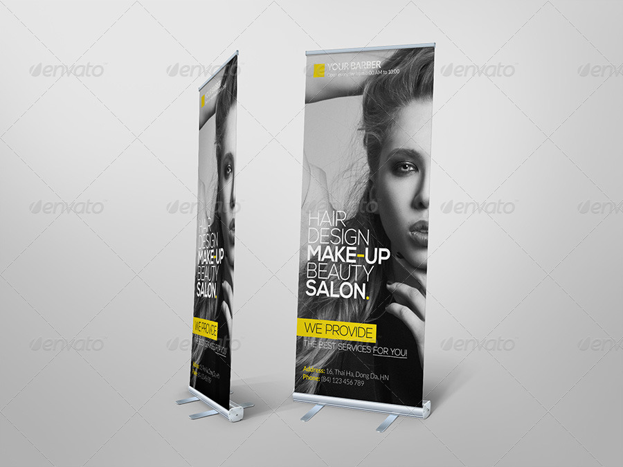 Premium Hair Salon Roll Up Banner By Hoanggiang12