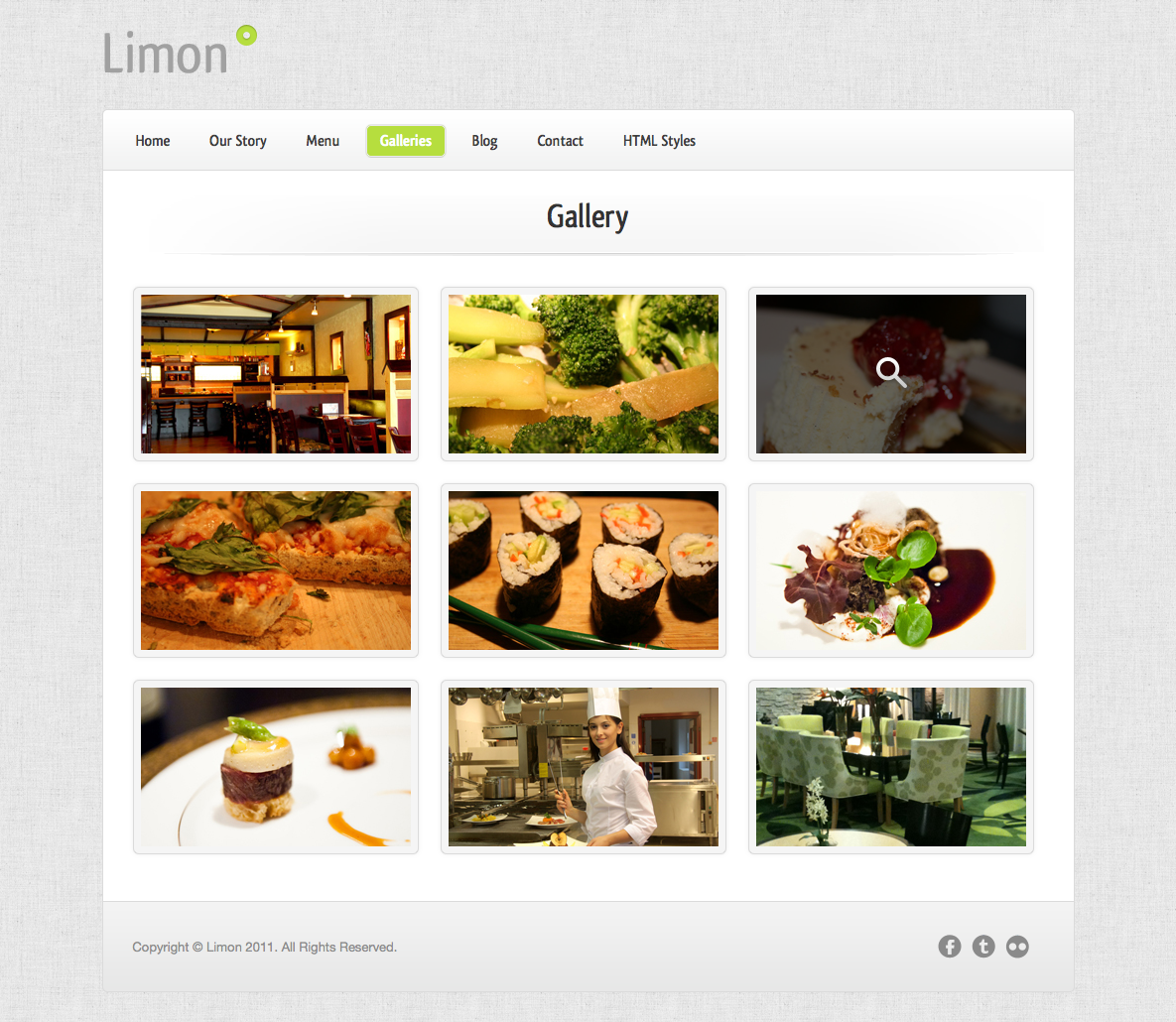 Limon - A Restaurant and Spa Wordpress Theme - Gallery - A full-featured query slideshow, alternate thumbnail galleries are also included.