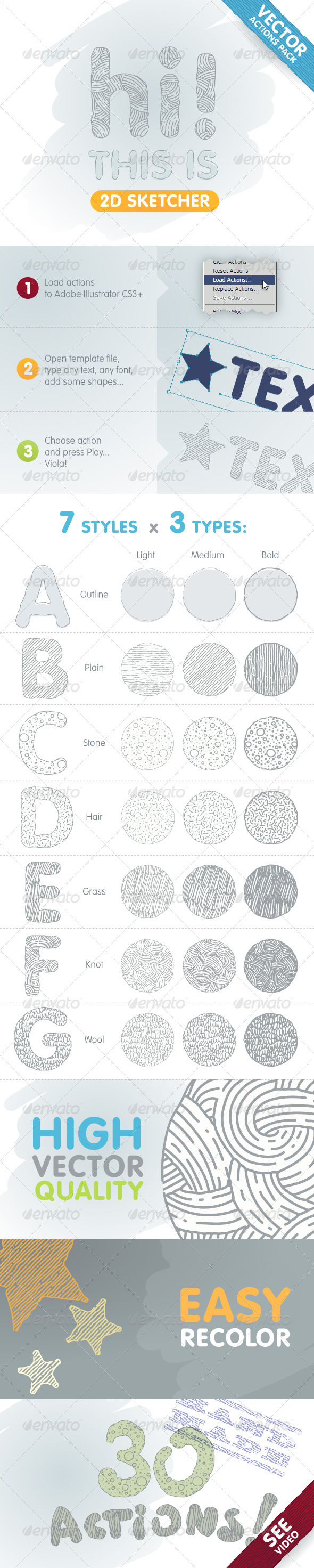 GraphicRiver 2D Sketcher Vector Actions Pack 610454